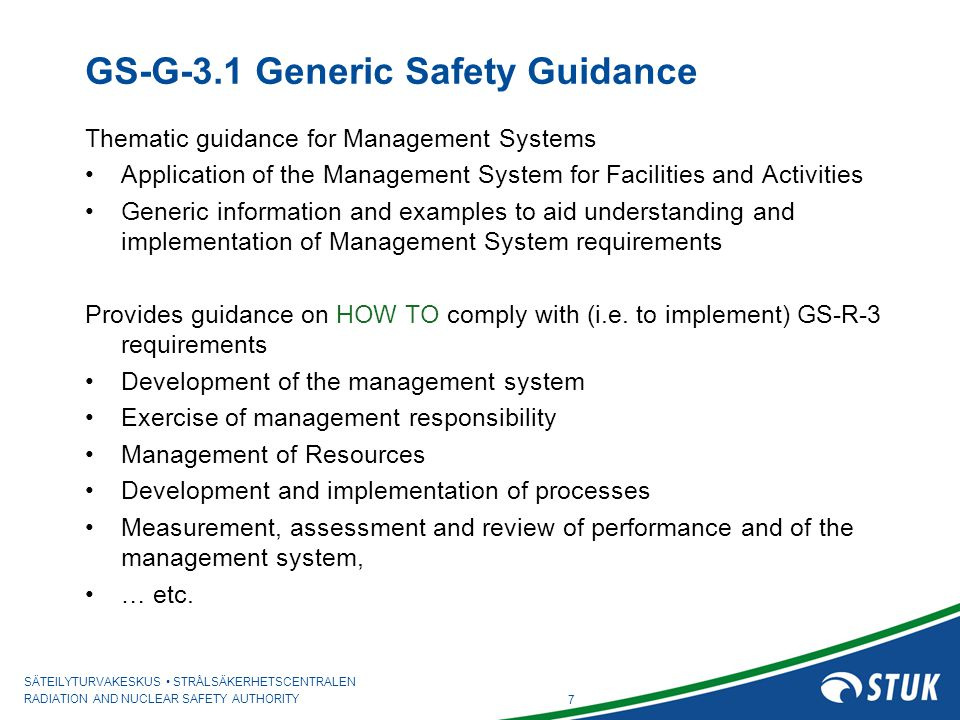GS-G-3.1 Generic Safety Guidance