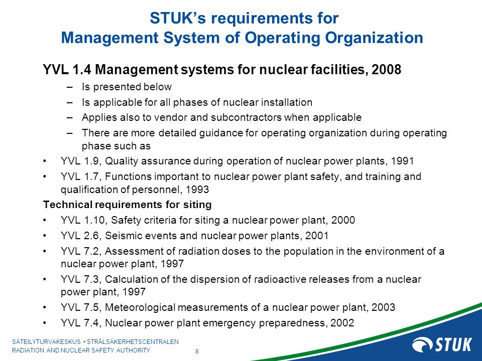 STUK's requirements for Management System of Operating Organization