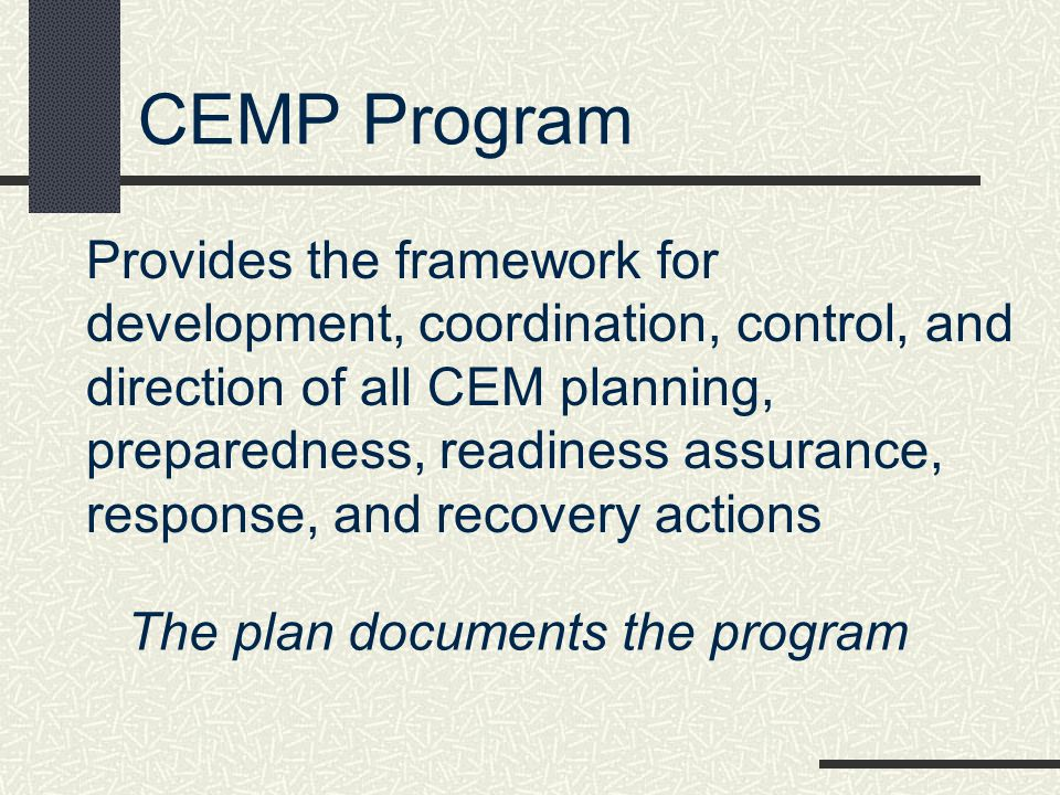 The plan documents the program
