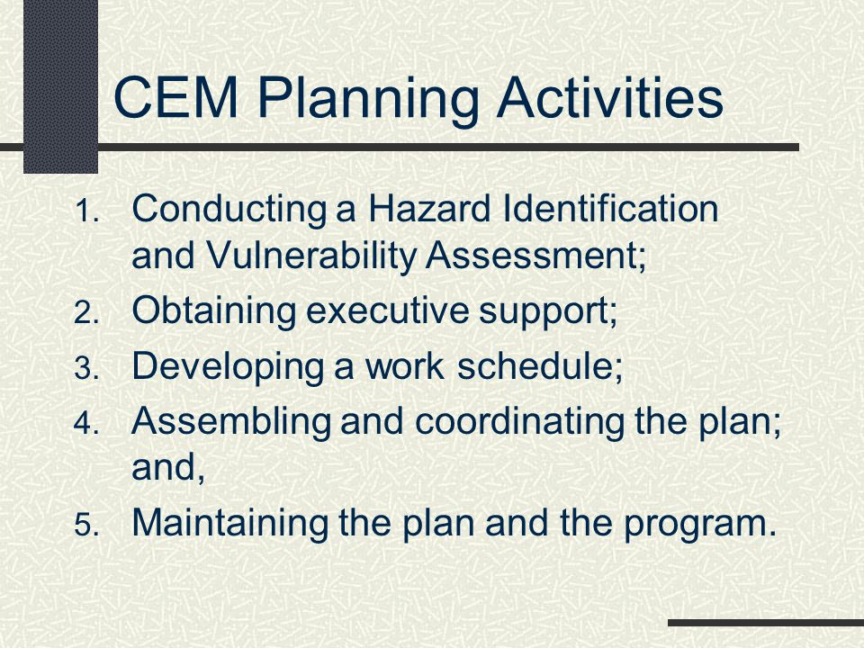 CEM Planning Activities
