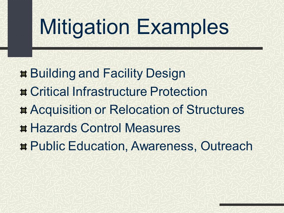 Mitigation Examples Building and Facility Design