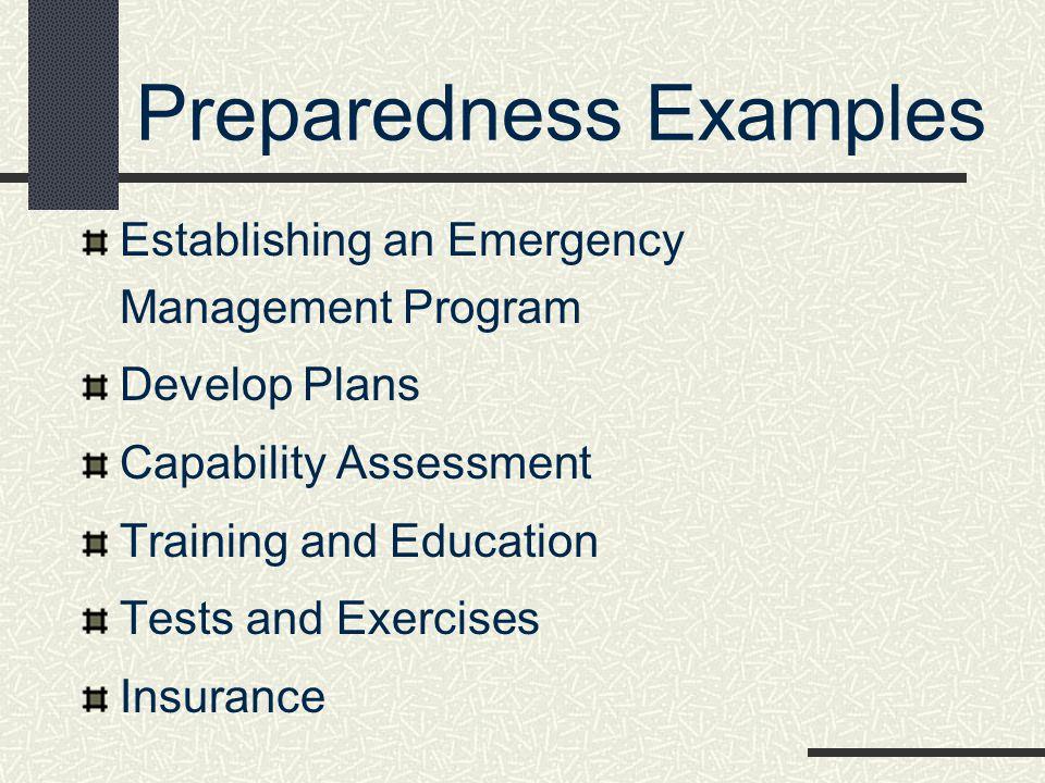 Preparedness Examples