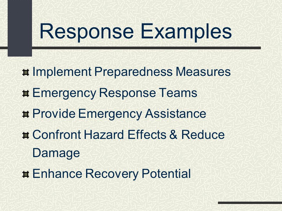 Response Examples Implement Preparedness Measures