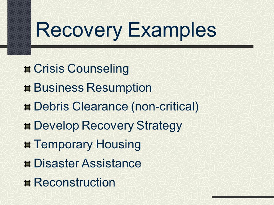 Recovery Examples Crisis Counseling Business Resumption