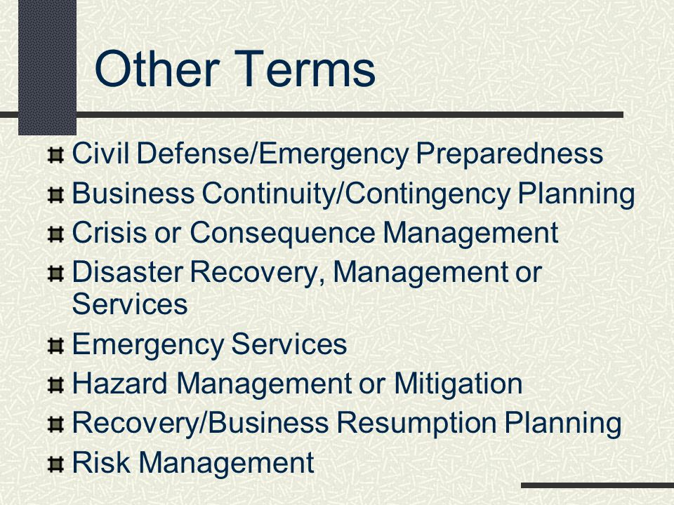 Other Terms Civil Defense/Emergency Preparedness