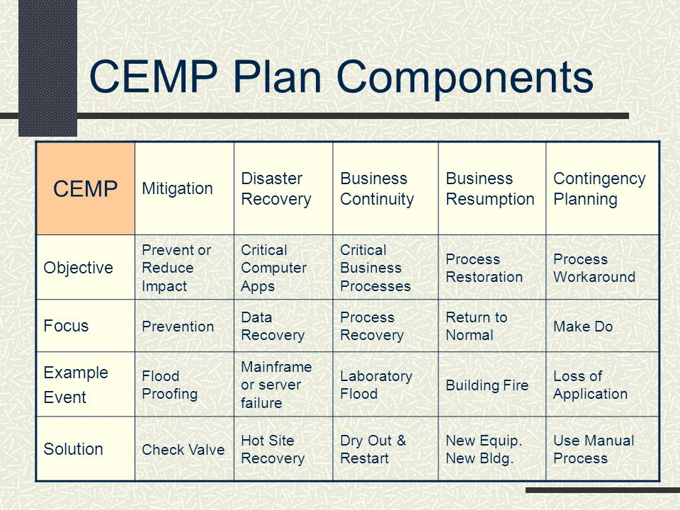 CEMP Plan Components CEMP Mitigation Disaster Recovery