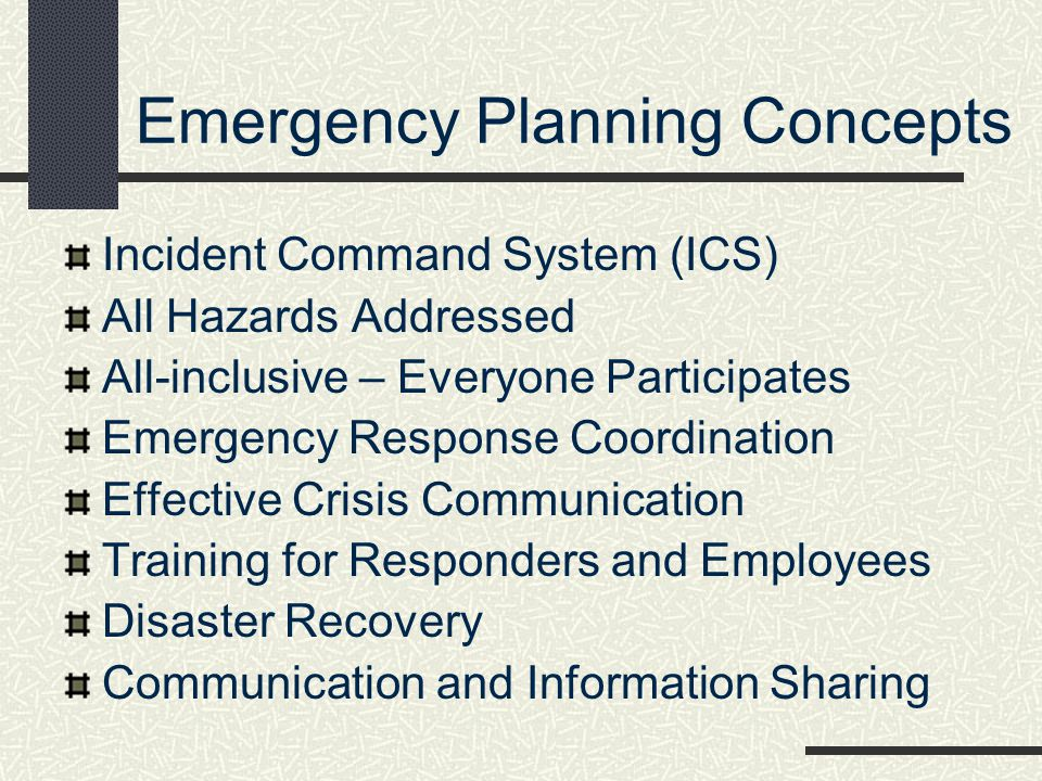 Emergency Planning Concepts