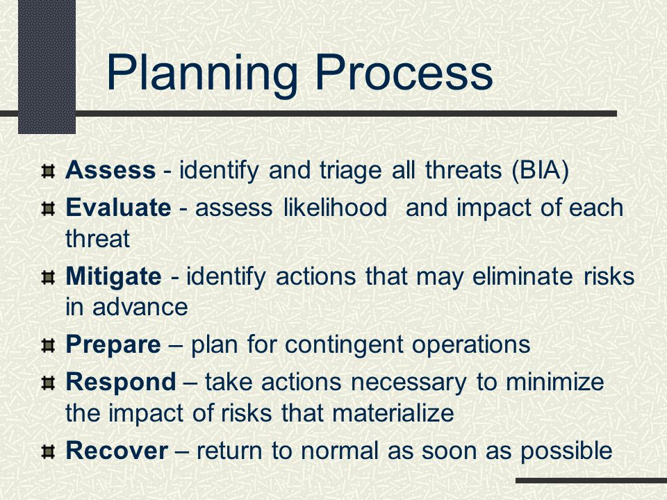 Planning Process Assess - identify and triage all threats (BIA)