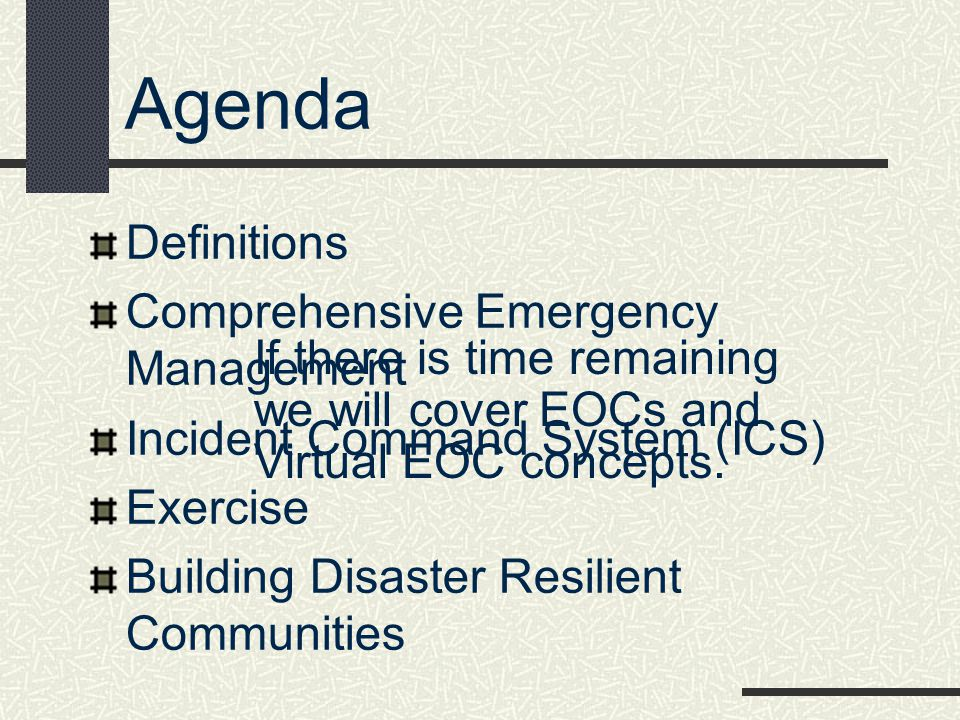 Agenda Definitions Comprehensive Emergency Management