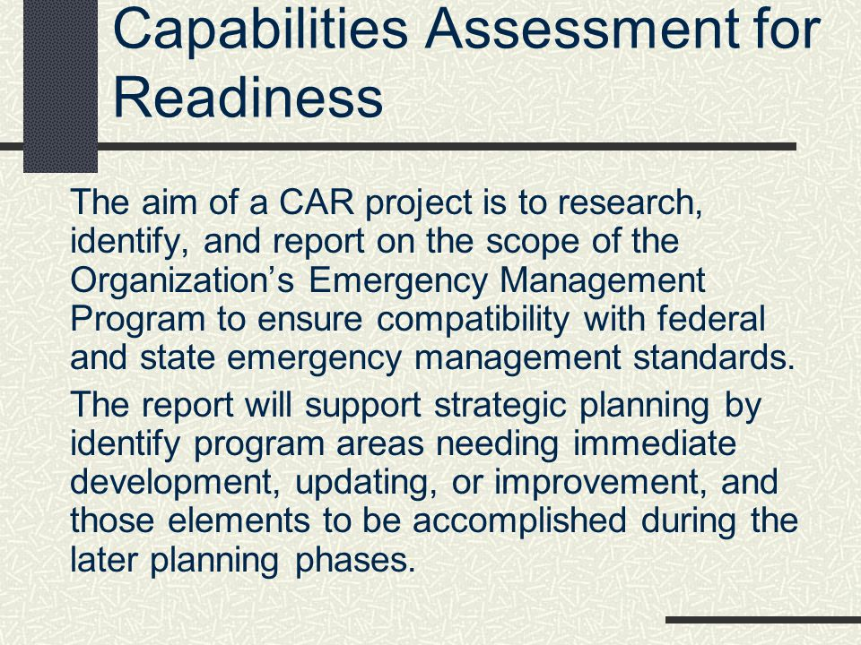 Capabilities Assessment for Readiness