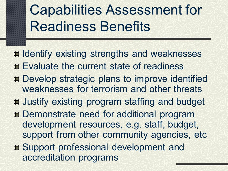 Capabilities Assessment for Readiness Benefits