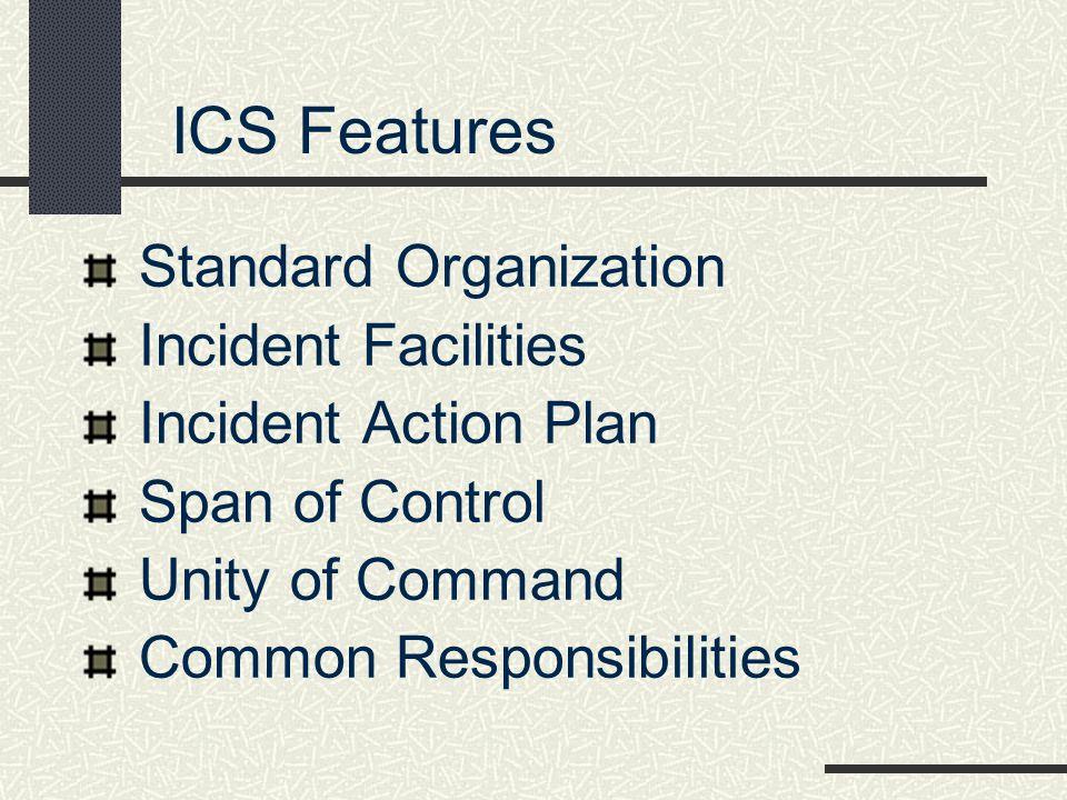 ICS Features Standard Organization Incident Facilities