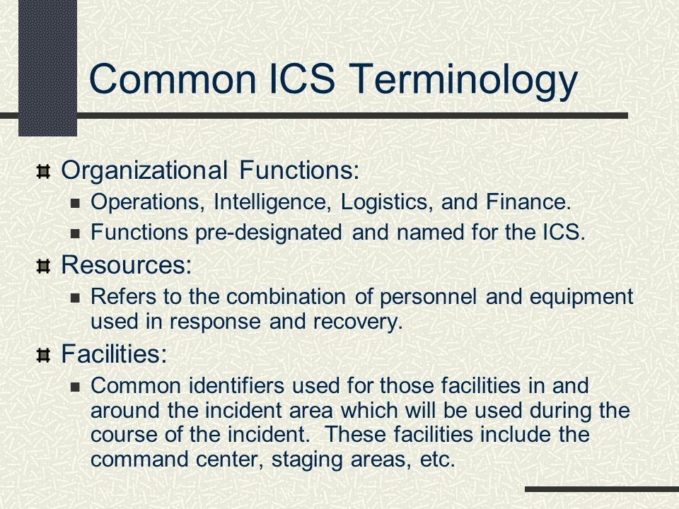 Common ICS Terminology