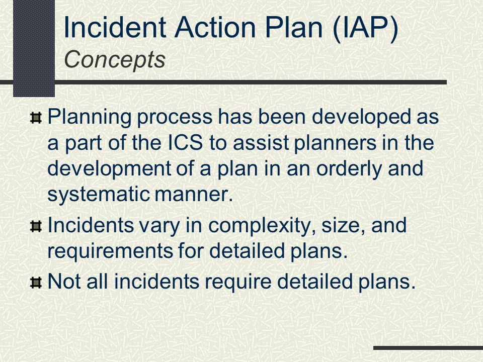 Incident Action Plan (IAP) Concepts