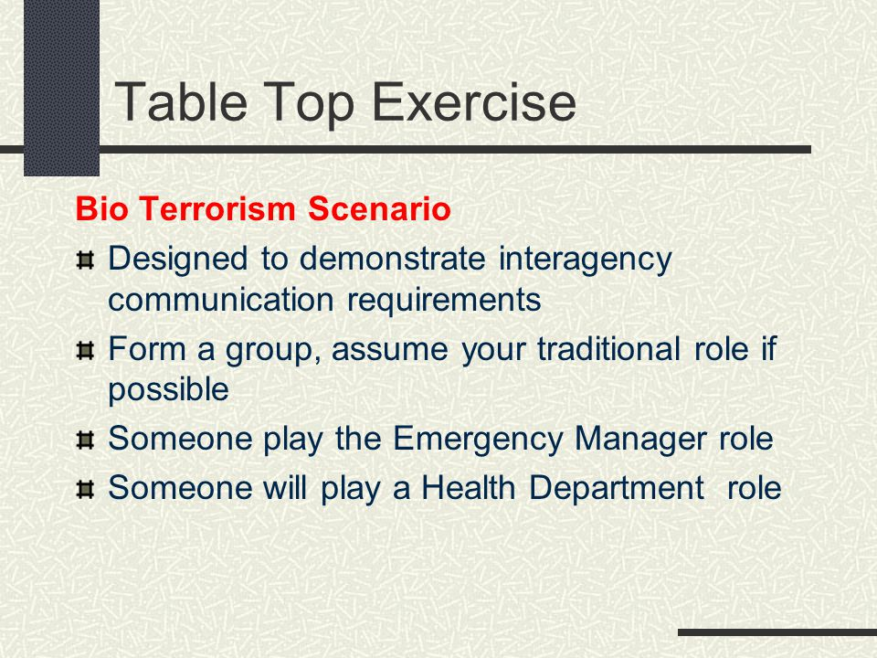 Table Top Exercise Bio Terrorism Scenario