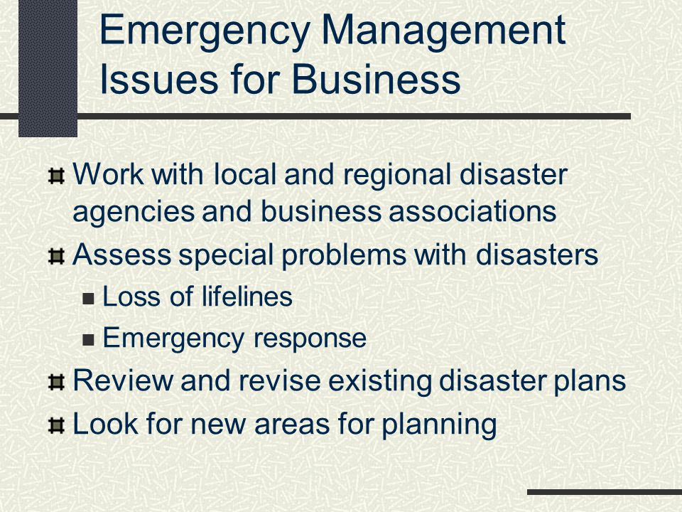 Emergency Management Issues for Business