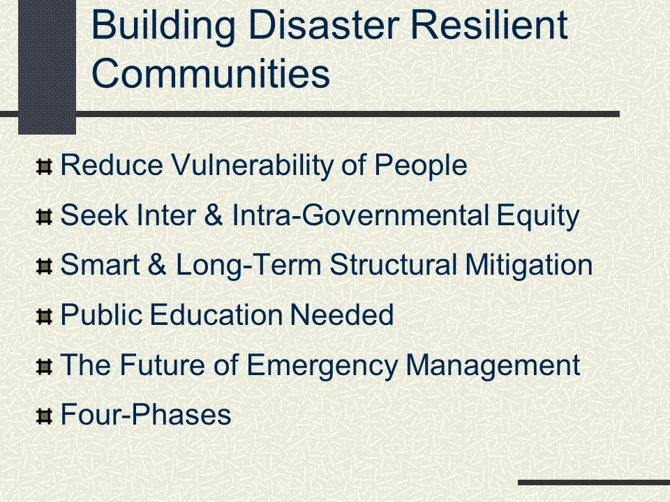 Building Disaster Resilient Communities