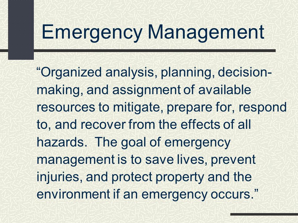 * Emergency Management. 07/16/96.