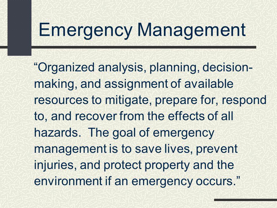 * Emergency Management. 07/16/96.
