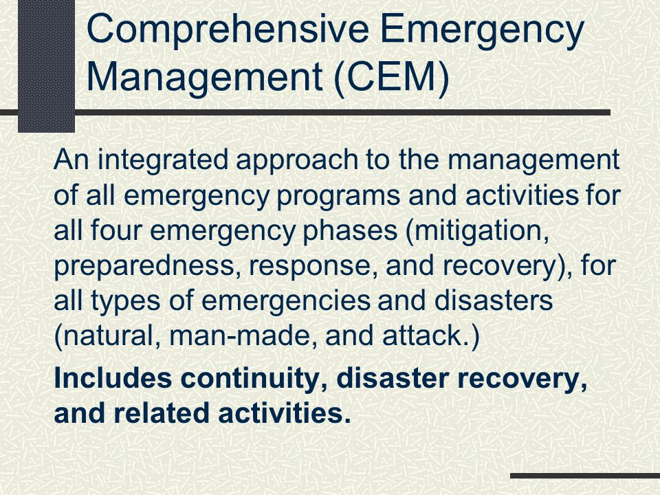 Comprehensive Emergency Management (CEM)