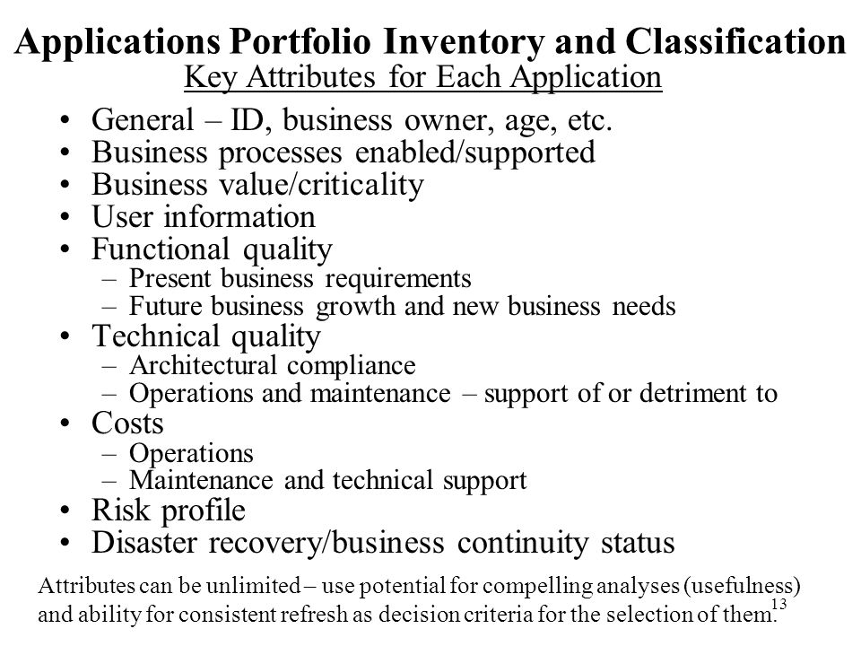 Applications Portfolio Inventory and Classification
