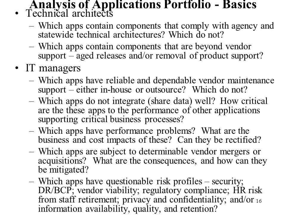 Analysis of Applications Portfolio - Basics