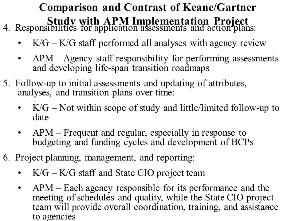 Comparison and Contrast of Keane/Gartner Study with APM Implementation Project