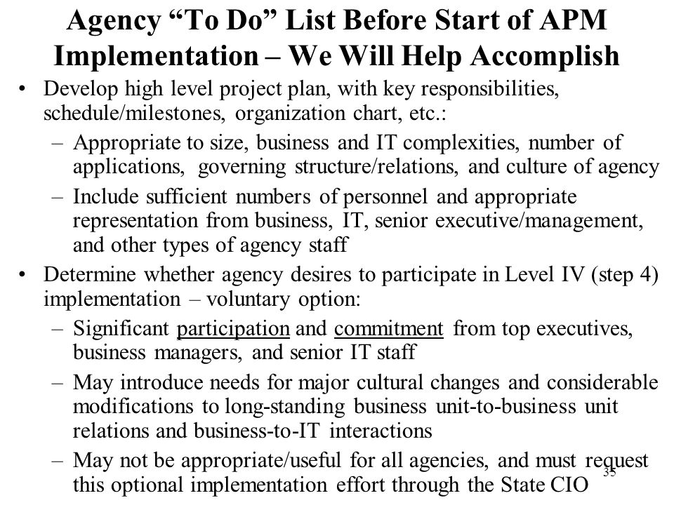 Agency To Do List Before Start of APM Implementation – We Will Help Accomplish