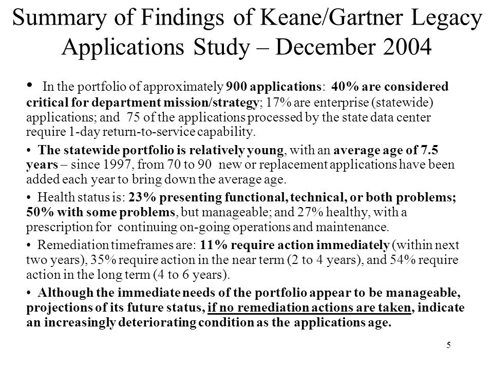 Summary of Findings of Keane/Gartner Legacy Applications Study – December 2004