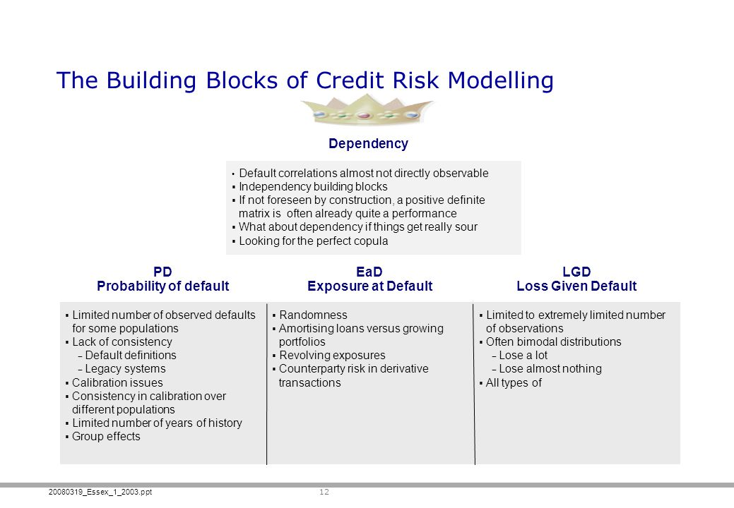 The Building Blocks of Credit Risk Modelling
