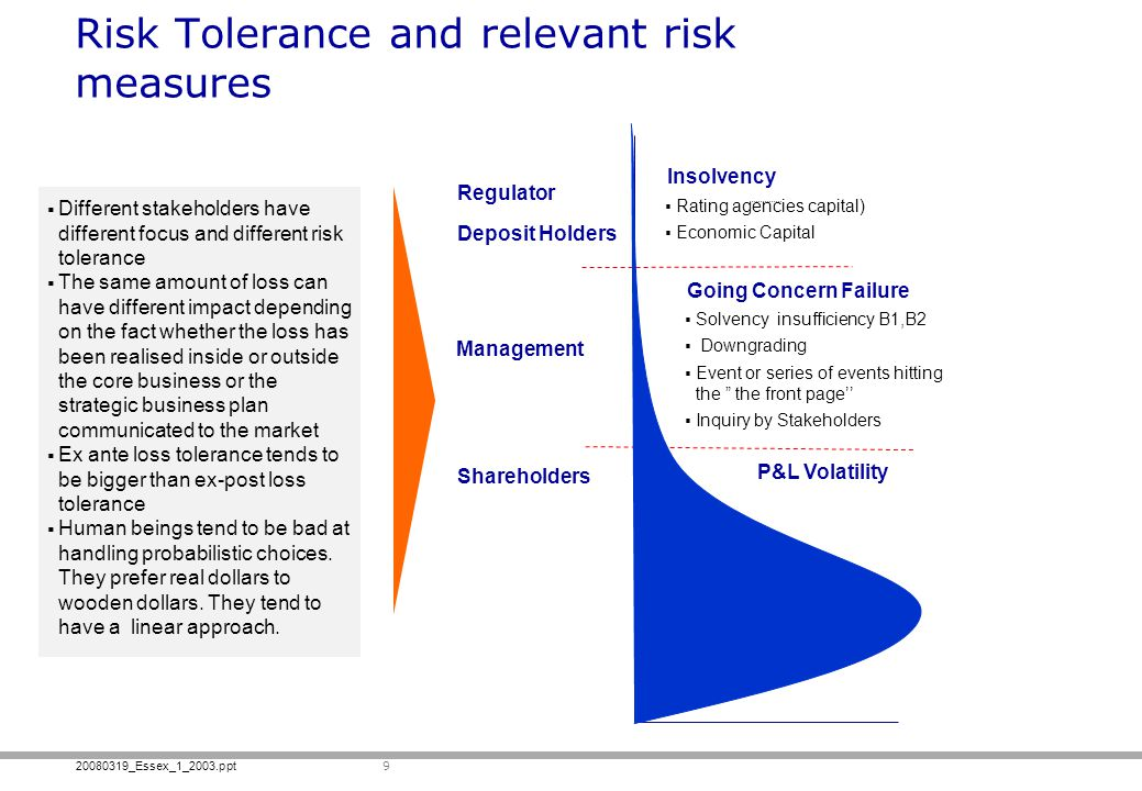 Risk Tolerance and relevant risk measures