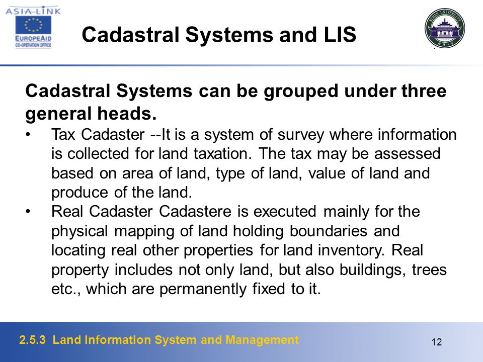 Cadastral Systems and LIS