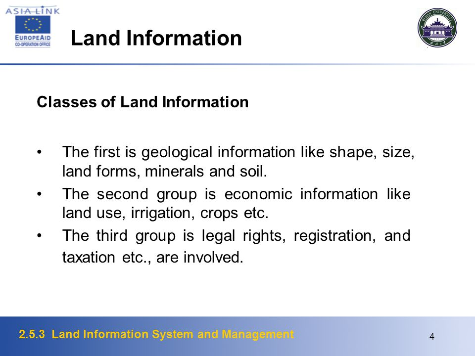 Land Information Classes of Land Information