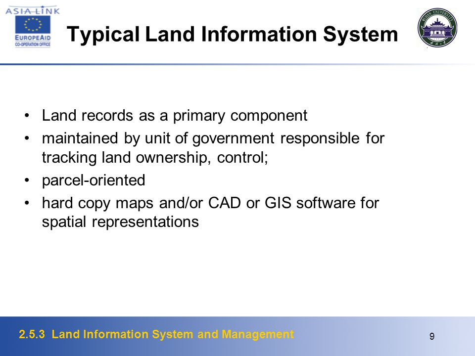 Typical Land Information System