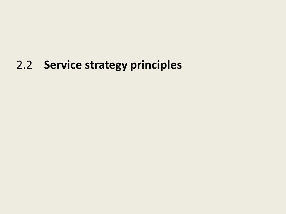 2.2 Service strategy principles