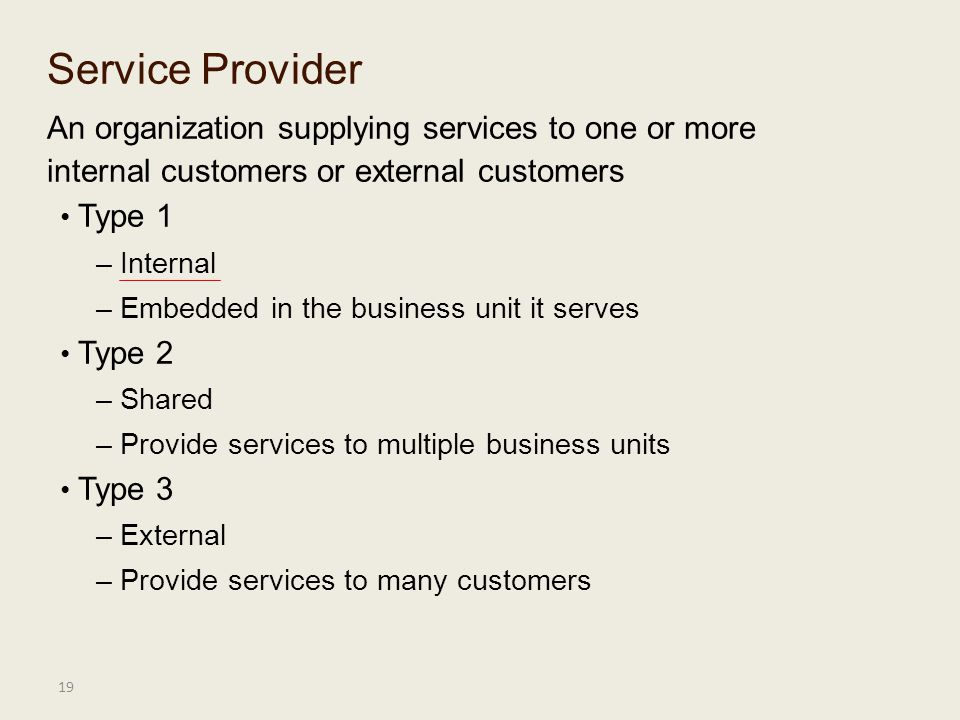 Service Provider An organization supplying services to one or more