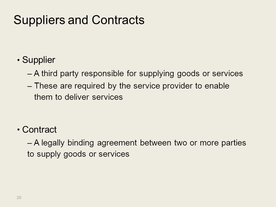 Suppliers and Contracts