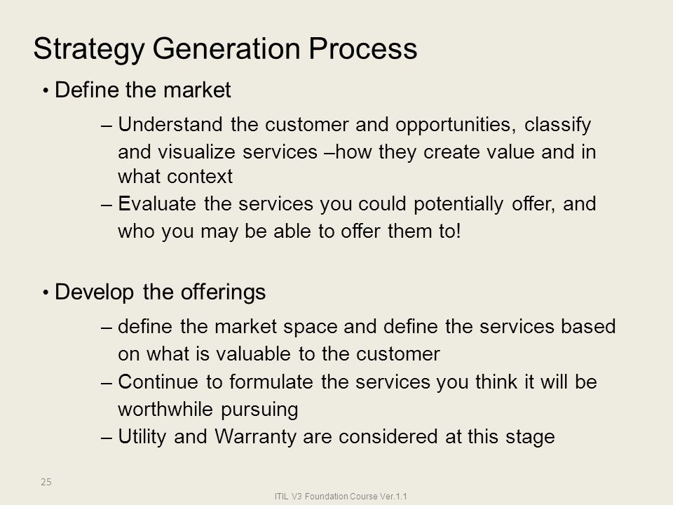 Strategy Generation Process • Define the market