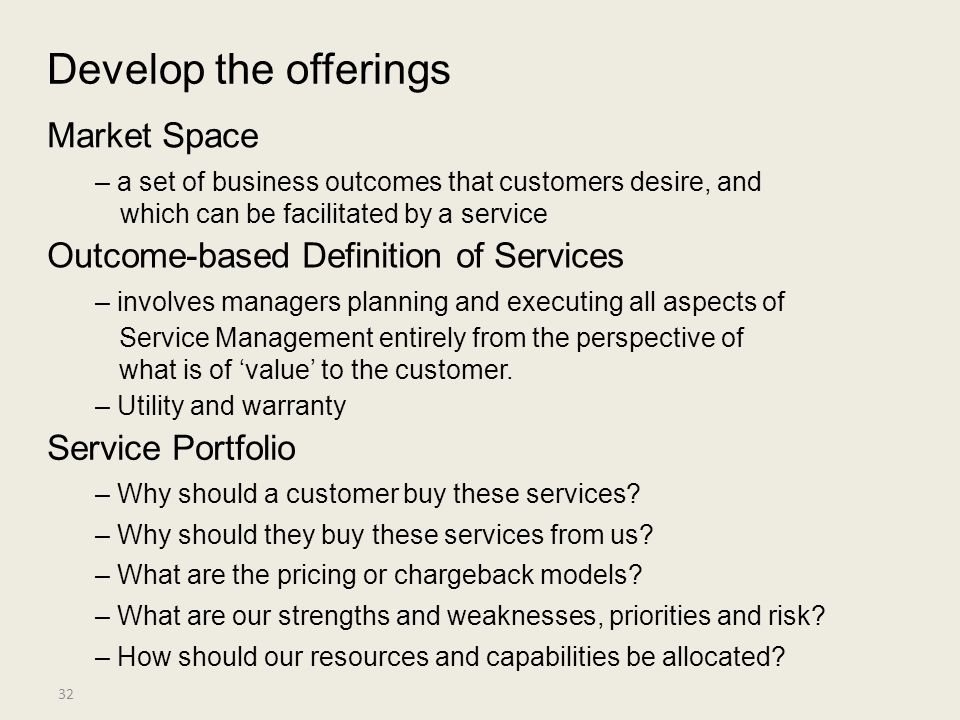 Develop the offerings Market Space