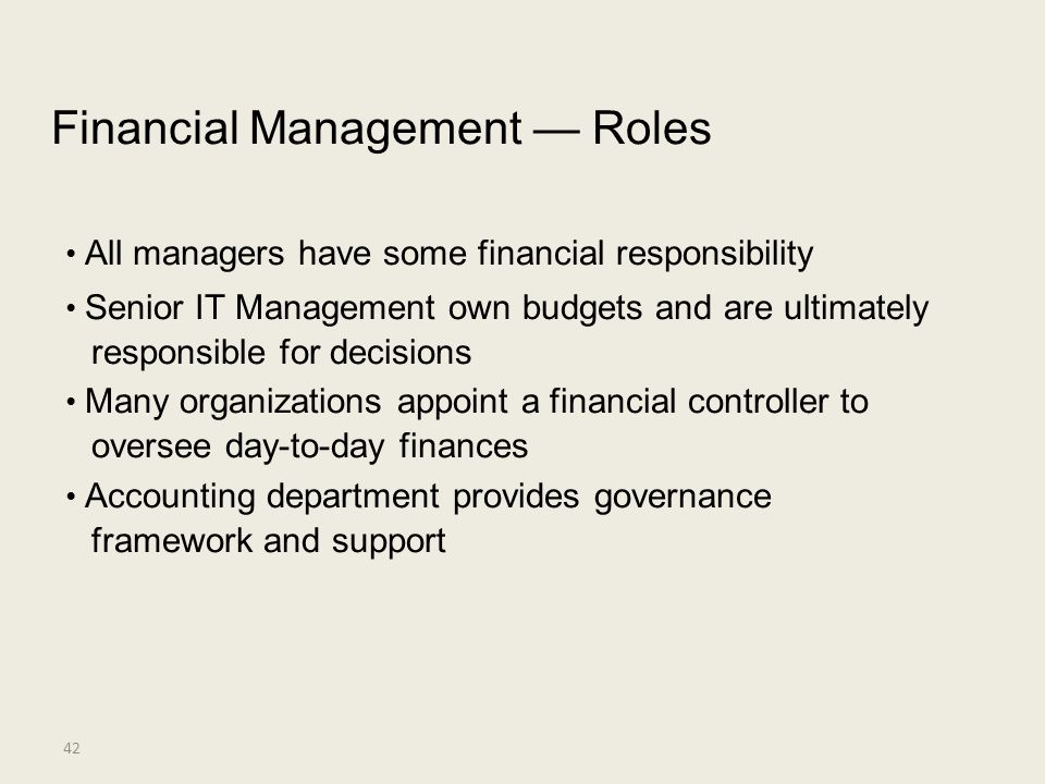 Financial Management — Roles