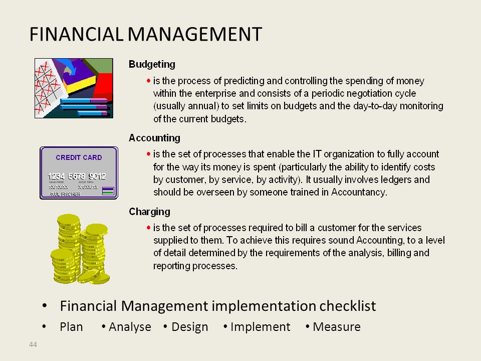 FINANCIAL MANAGEMENT Financial Management implementation checklist