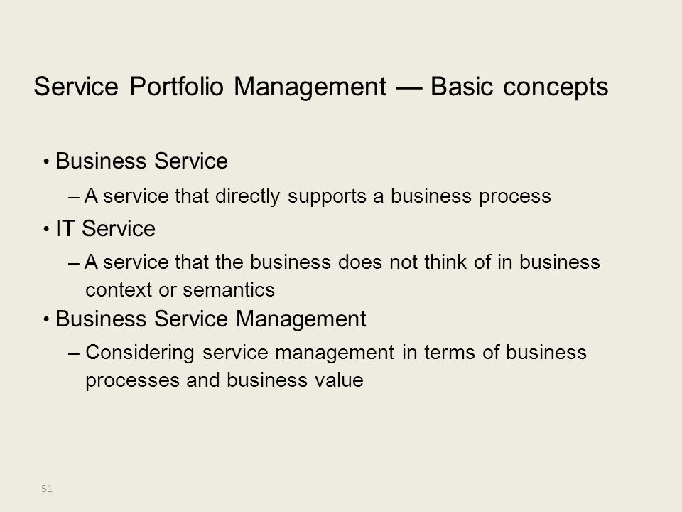 • Business Service Service Portfolio Management — Basic concepts