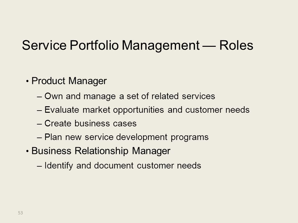 Service Portfolio Management — Roles • Product Manager