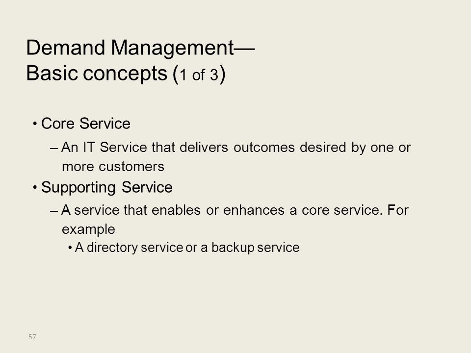 Demand Management— Basic concepts (1 of 3) • Core Service