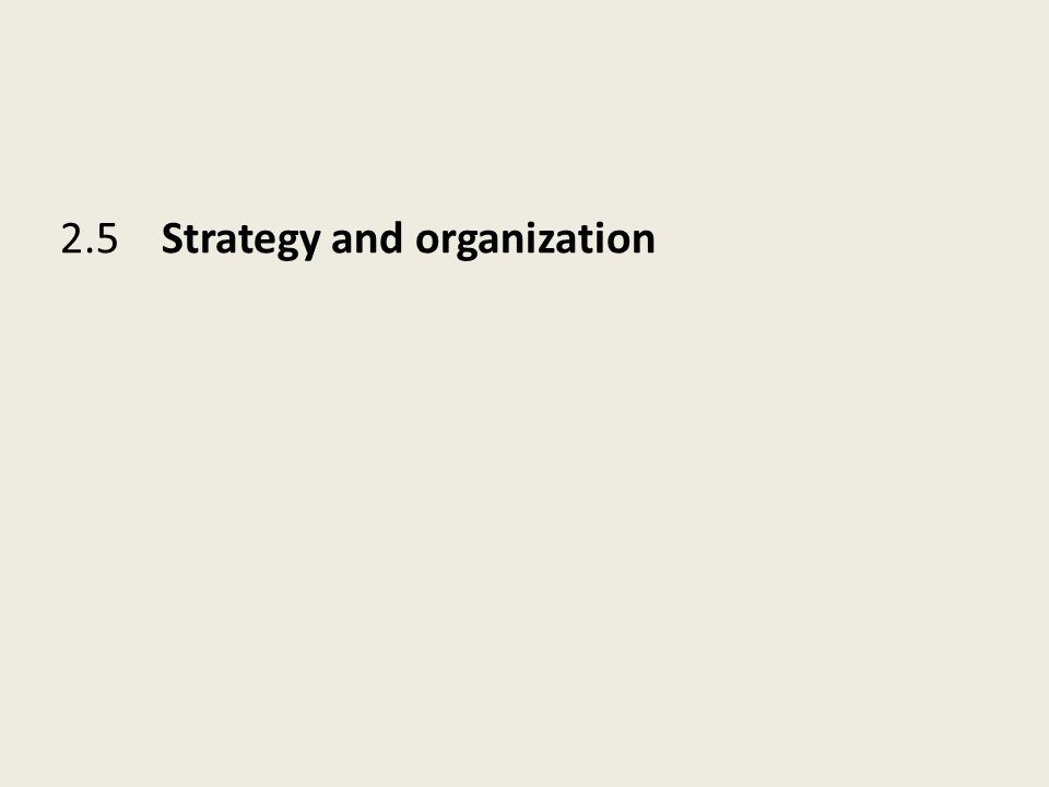 2.5 Strategy and organization