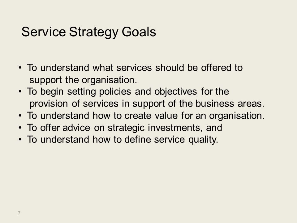 Service Strategy Goals