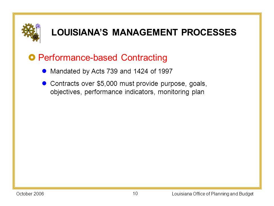 LOUISIANA'S MANAGEMENT PROCESSES