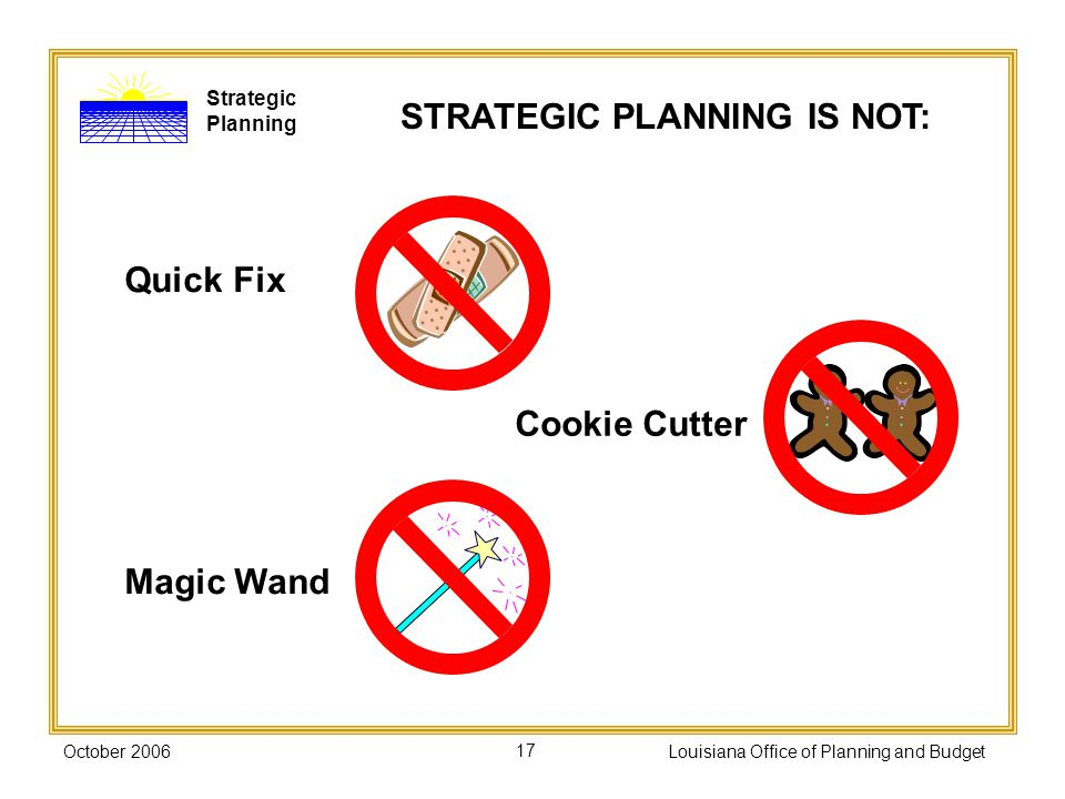 STRATEGIC PLANNING IS NOT: