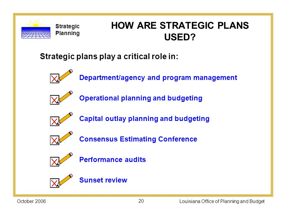 HOW ARE STRATEGIC PLANS USED