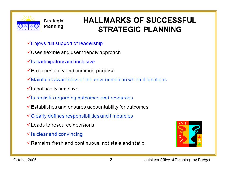 HALLMARKS OF SUCCESSFUL STRATEGIC PLANNING